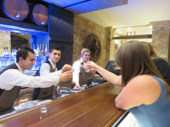 Bonding with the bar staff